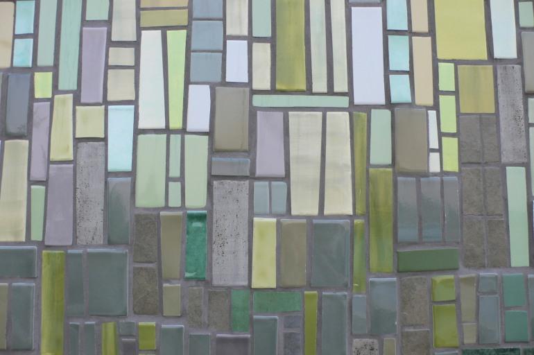 green tile wall