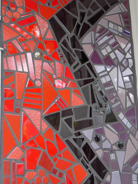 red, black & purple tilework