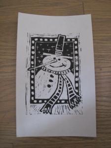 snowman lino cut print