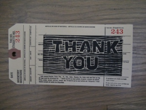 thank you printed on tag