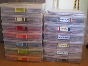 sorted scrapbook paper