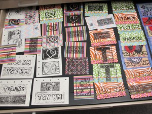 card assortment left to dry