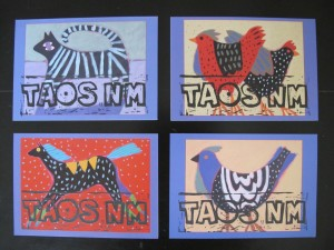 Taos printed on animal cards