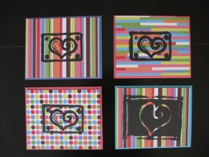 cards printed with heart images
