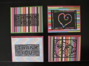 cards with assorted images - heart, thank you and baby face