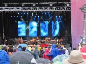crowd at Taos Music Festival in the rain