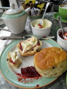 scones, clotted cream and jam with tea