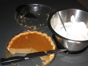 pie, pie plate & whipping cream