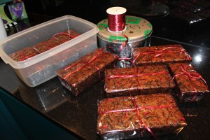 wrapped Christmas cakes