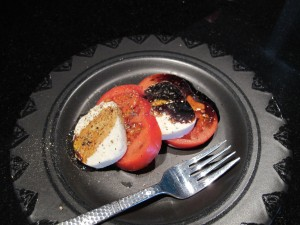 tomato and mozzarella with balsamic and olive oil