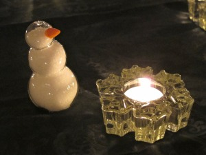 snow man salt shaker and candle