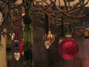 ornaments on chandelier