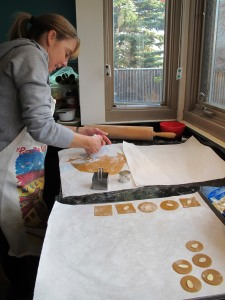 cutting cookies on parchment paper