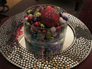 coffee table centerpiece of ornaments