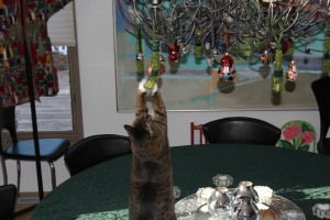 cat playing with ornament on the lights