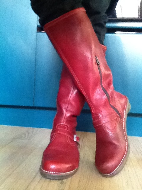 wearing my red boots