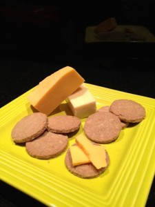 plate with biscuits and cheese