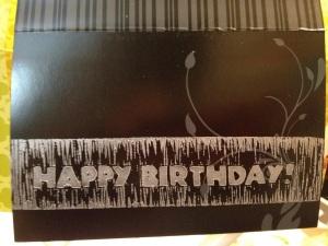 black happy birthday card