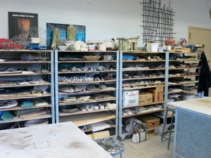shelves of pottery