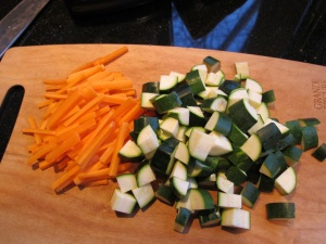 cut up carrots and zucchini