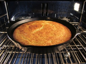 cornbread ready to come out of the oven