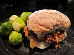 pulled pork sandwich with brussel sprouts