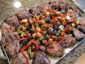 finished lamb with potatoes and peppers