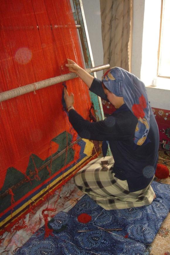 young woman weaving