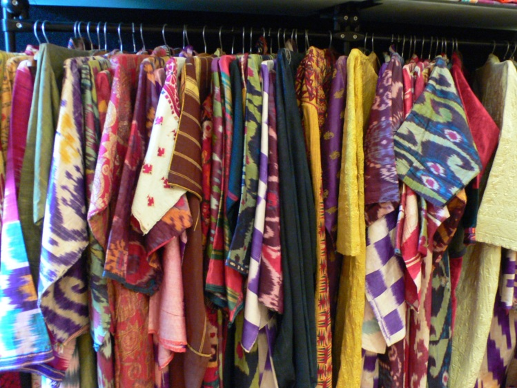 rack of coats - some ikat