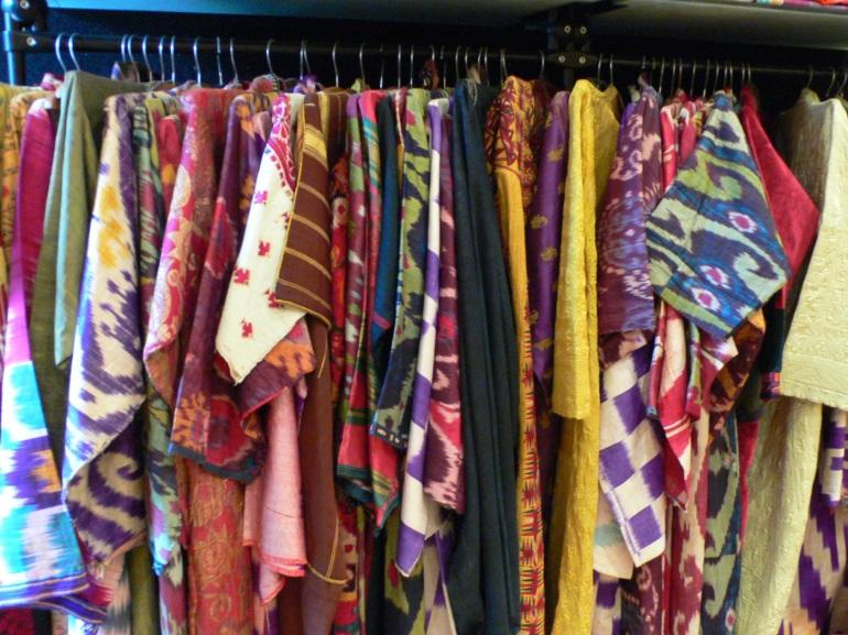 rack of coats - some ikat