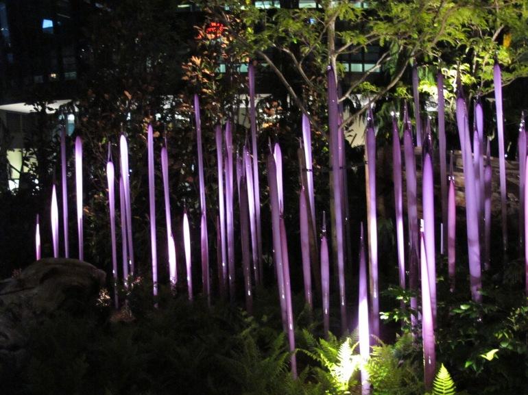 purple glass at night