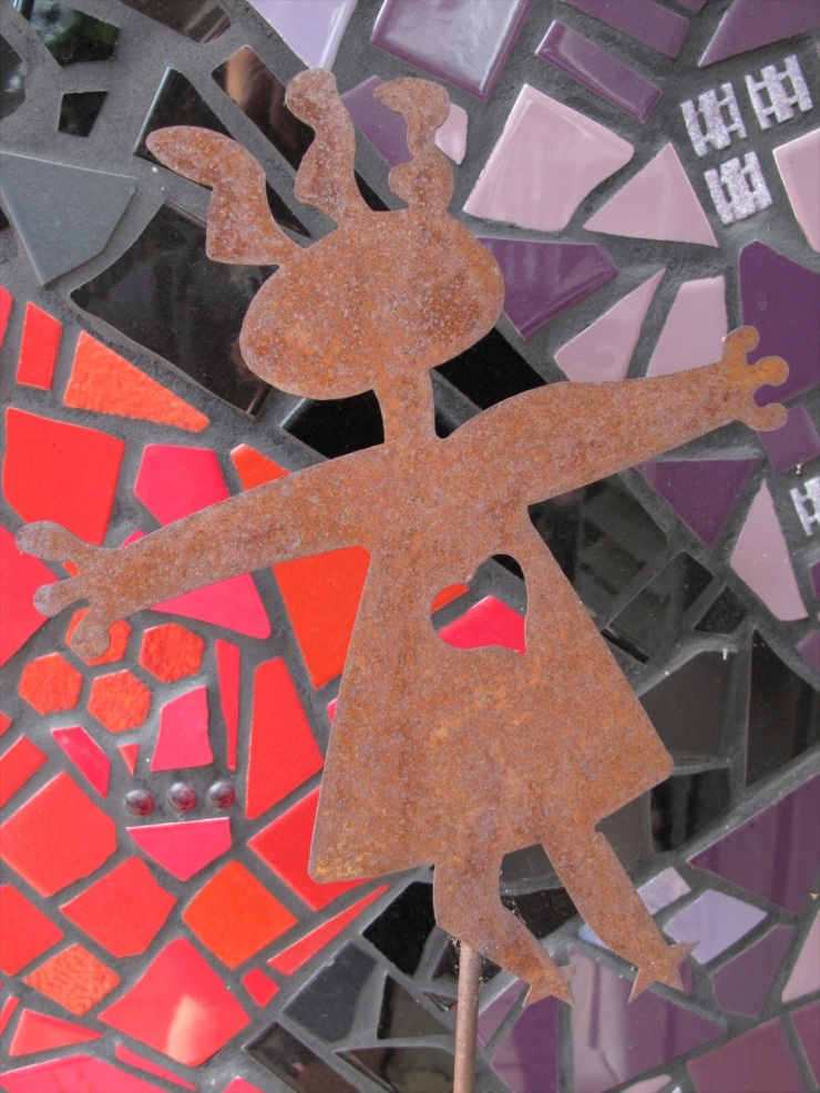 red, black and purple mosaic