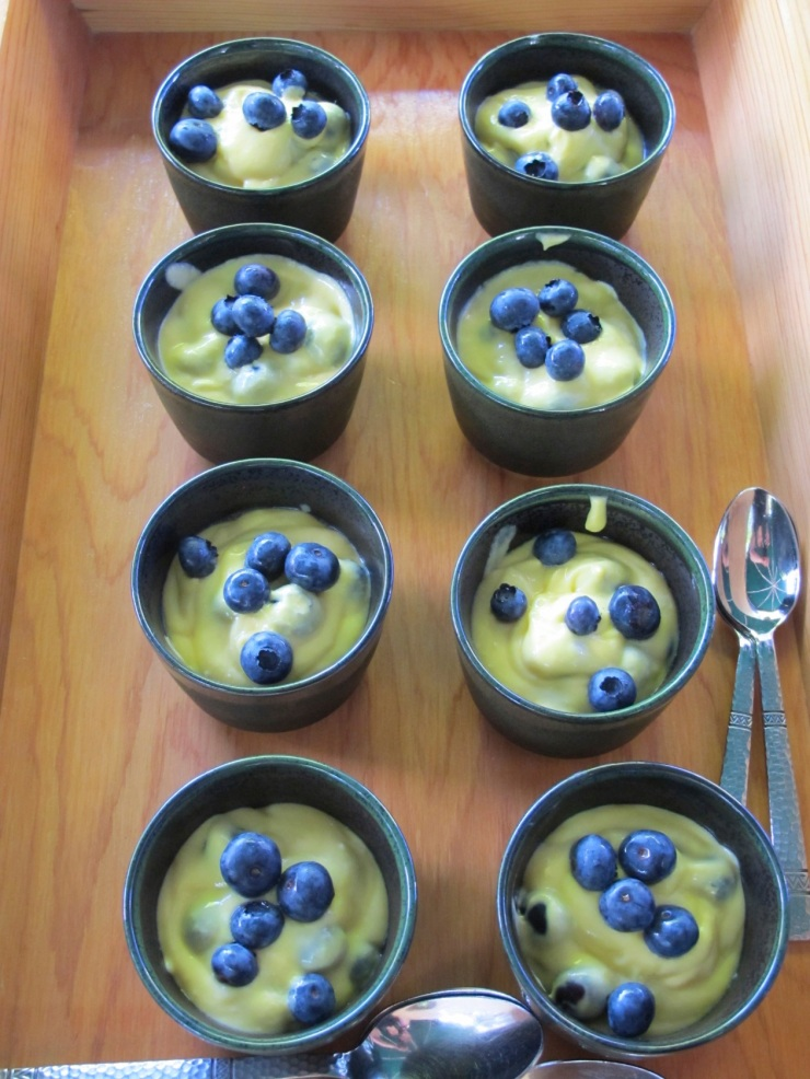mango fool with blueberries