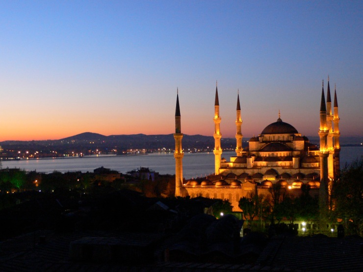 the Blue Mosque at sunrise