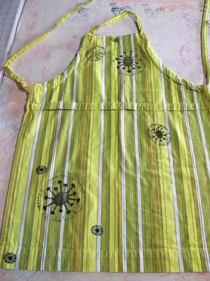 green striped apron