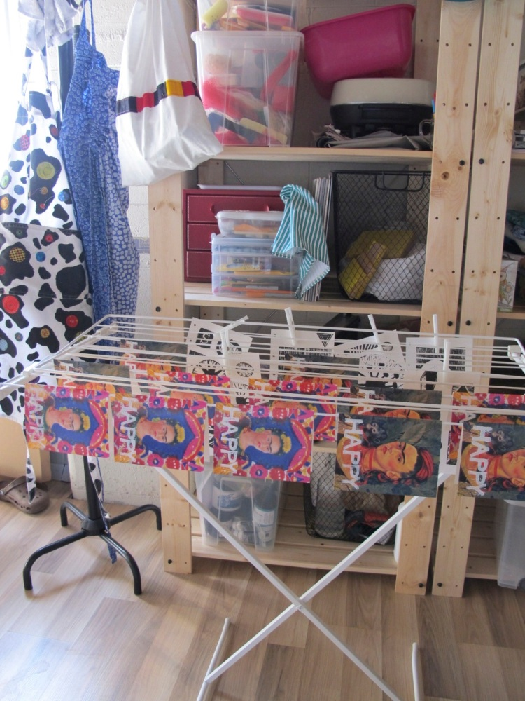 cards on rack to dry