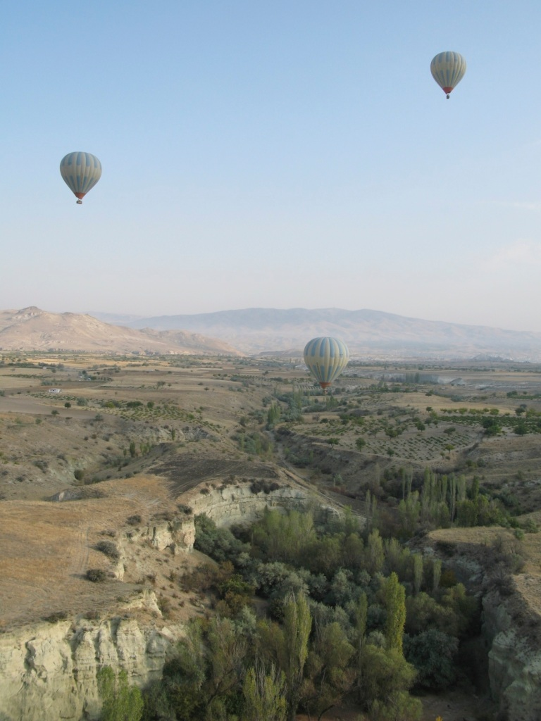 balloons merging with  landscape