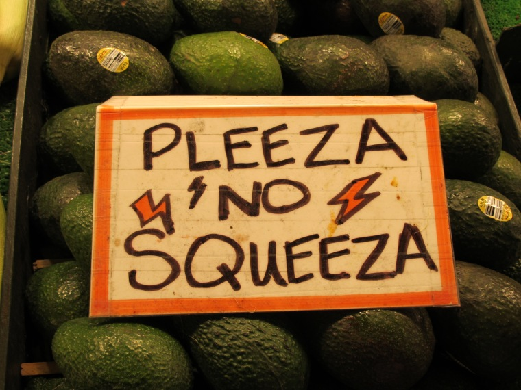 avocados and sign