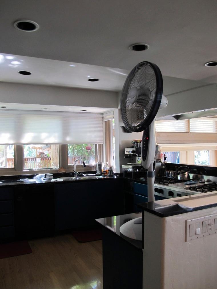 floor fan on counter