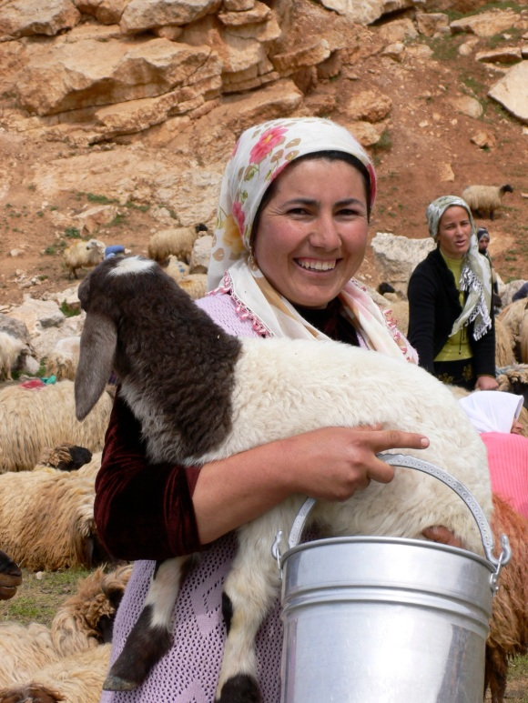woman with goat