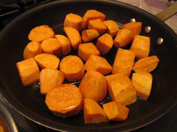 browning sweet potatoes