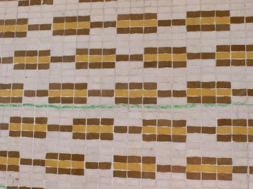 tile wall with crayon