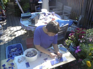 2-laying out blue tile-2002