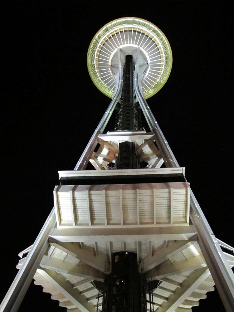 Seattle needle at night