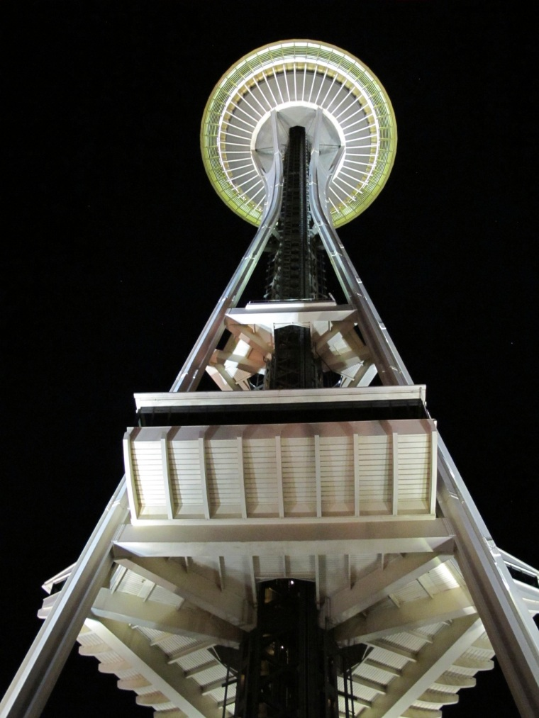 Seattle needle at night