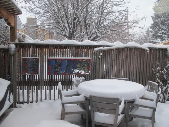 snowy winter yard