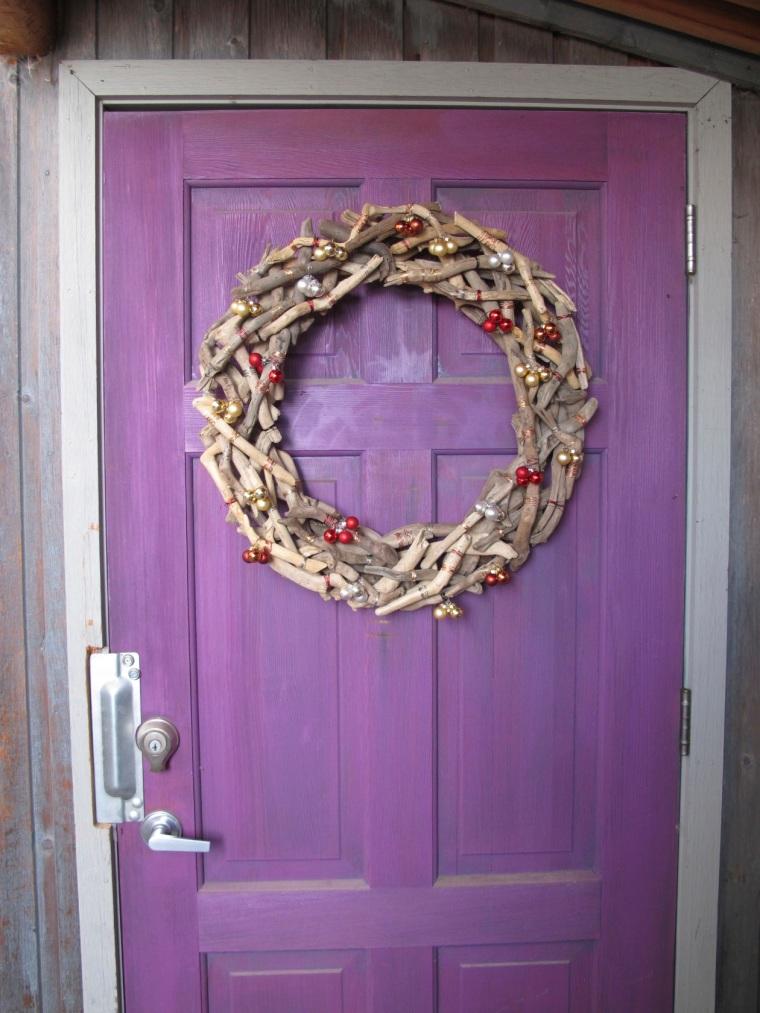 wreath on purple door