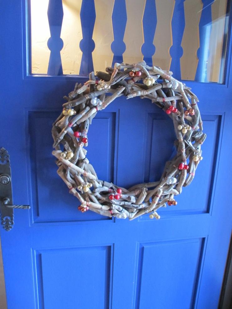 wreath on blue door