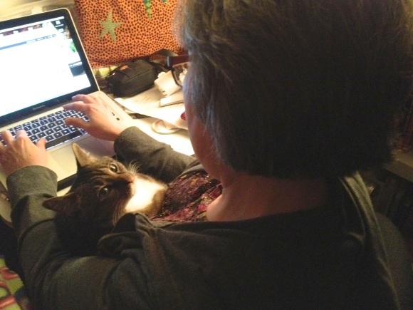 Kush and I blogging