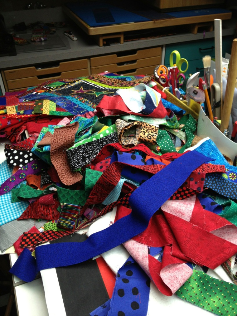 work surface piled with color